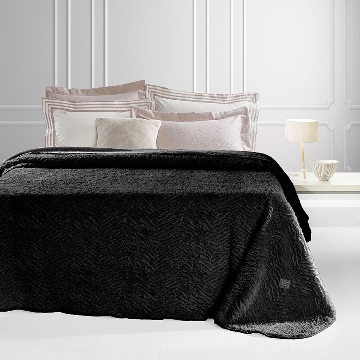Κουβέρτα Γούνινη Υπέρδιπλη Guy Laroche Nordic Black home   κρεβατοκάμαρα   κουβέρτες   κουβέρτες γούνινες   μάλλινες