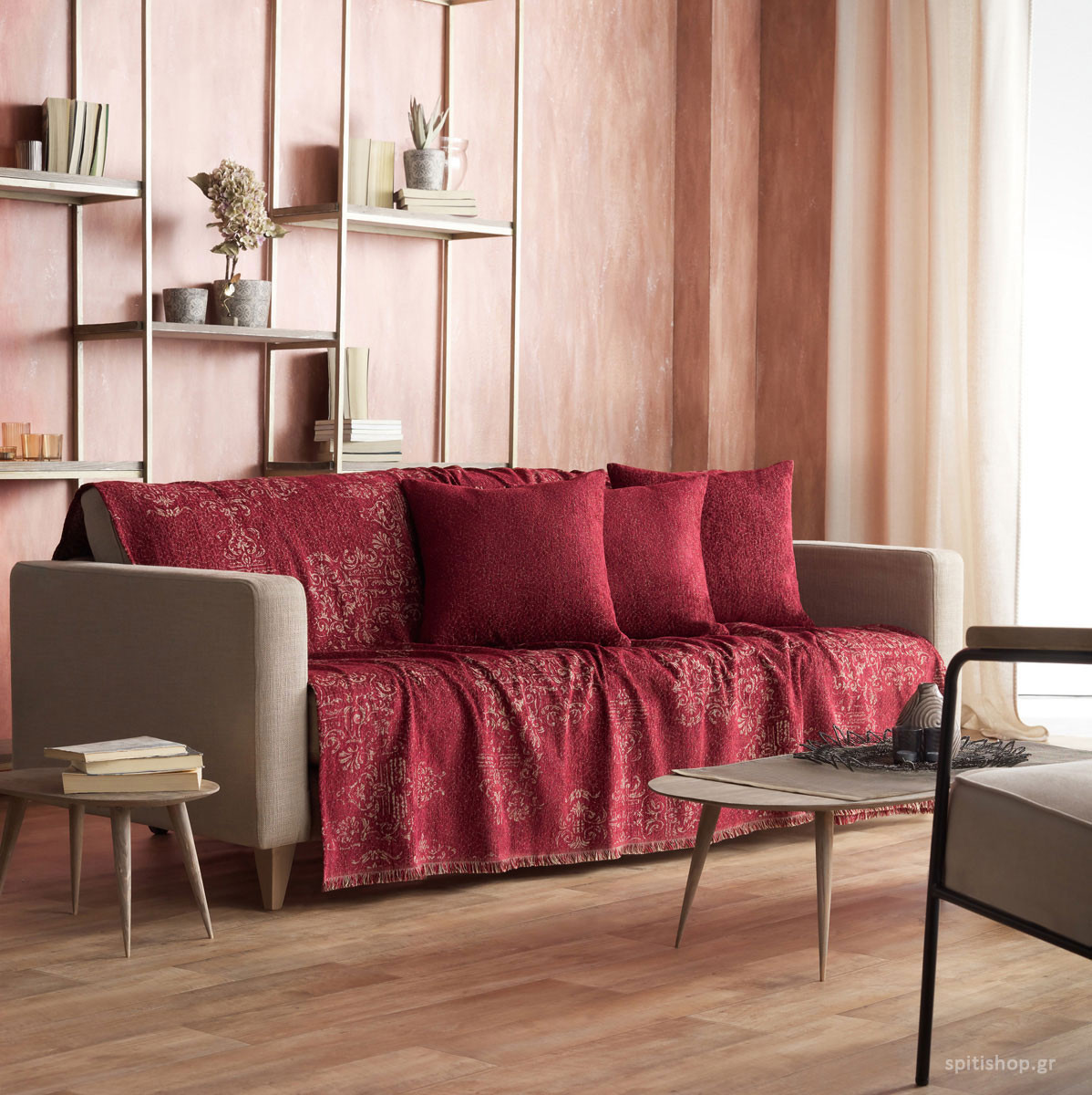Ριχτάρι Τριθέσιου (180×310) Gofis Home Rustic Bordo 948/02