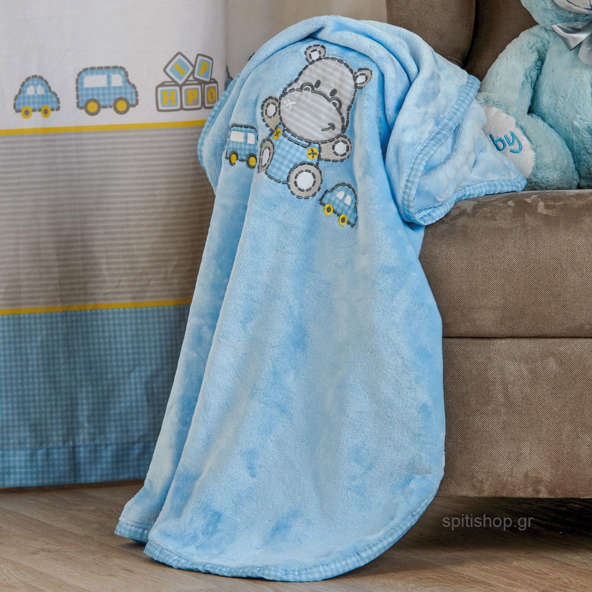 Κουβέρτα Βελουτέ Αγκαλιάς Kentia Baby Hippo