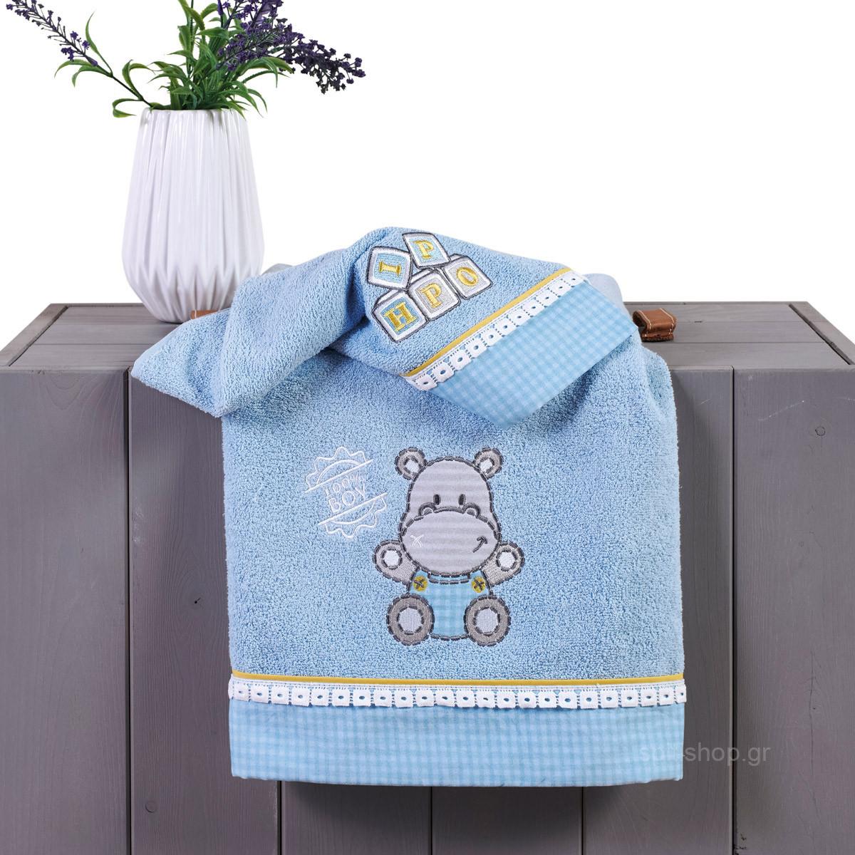 Βρεφικές Πετσέτες (Σετ 2τμχ) Kentia Baby Hippo