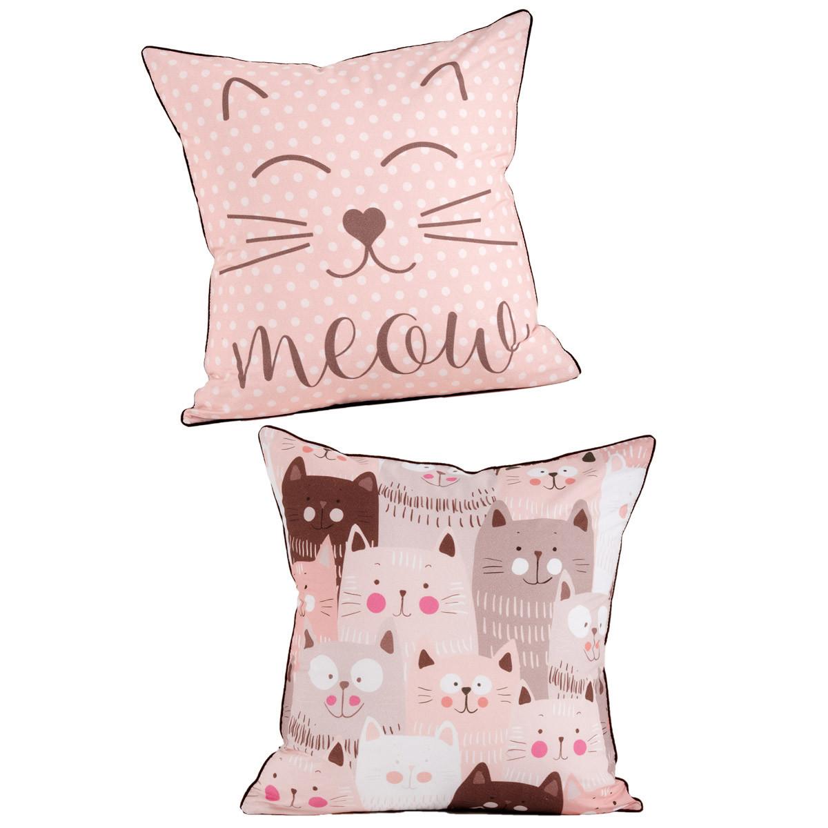 Διακοσμητική Μαξιλαροθήκη 2 Όψεων Kentia Kids Kitty home   παιδικά   διακοσμητικά μαξιλάρια παιδικά