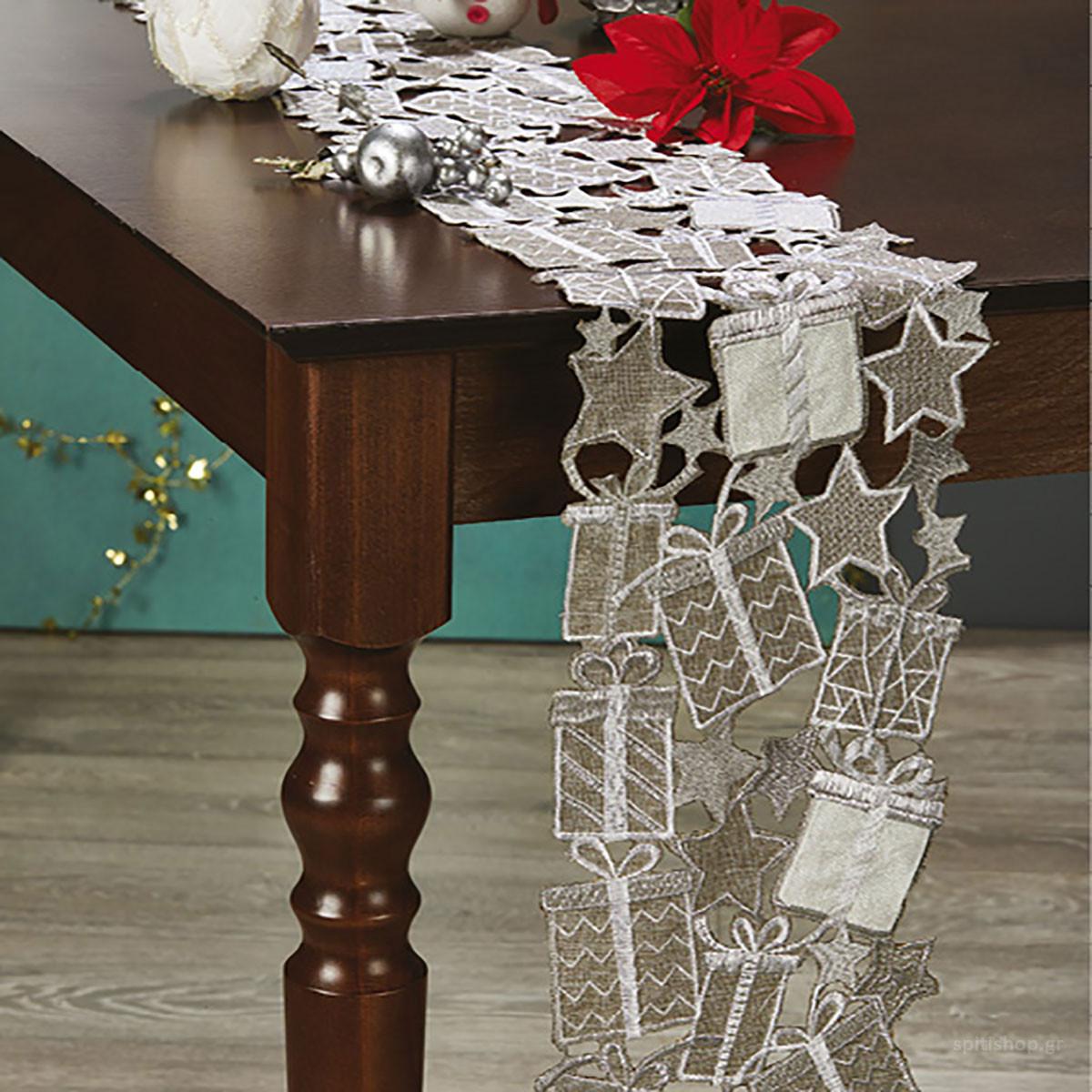 Χριστουγεννιάτικη Τραβέρσα White Egg 17409/3 home   χριστουγεννιάτικα   χριστουγεννιάτικες τραβέρσες