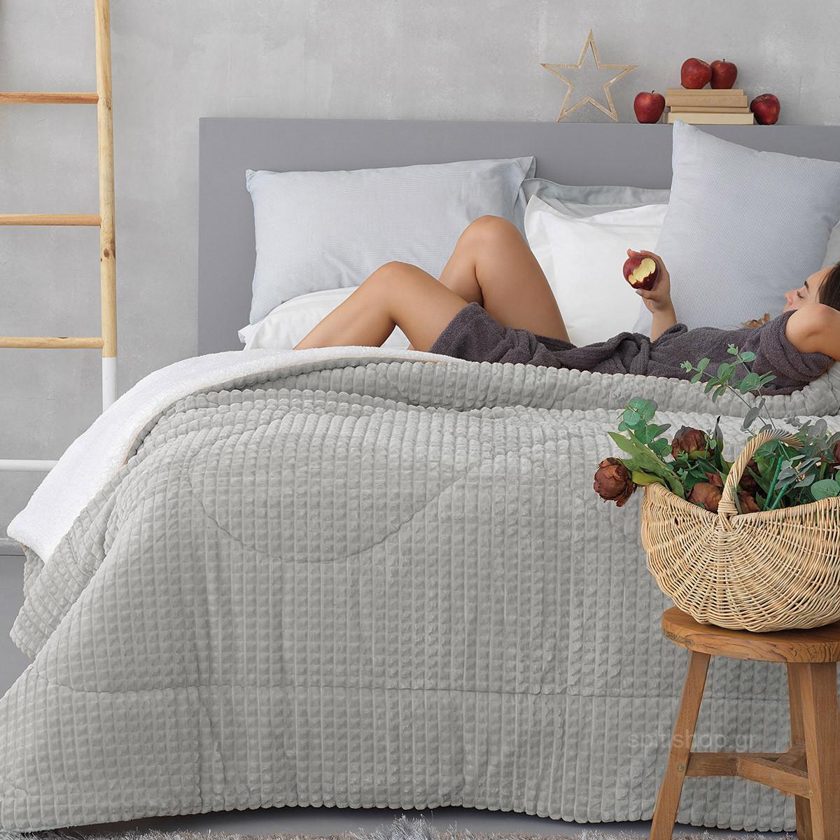 Κουβερτοπάπλωμα Υπέρδιπλο Palamaiki Cube Grey home   κρεβατοκάμαρα   παπλώματα   κουβερτοπαπλώματα