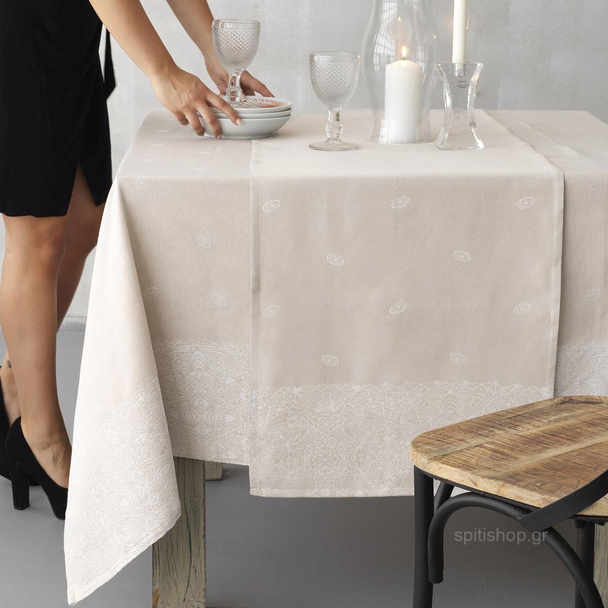 Τραβέρσα Palamaiki Anemone Beige home   κουζίνα   τραπεζαρία   τραβέρσες