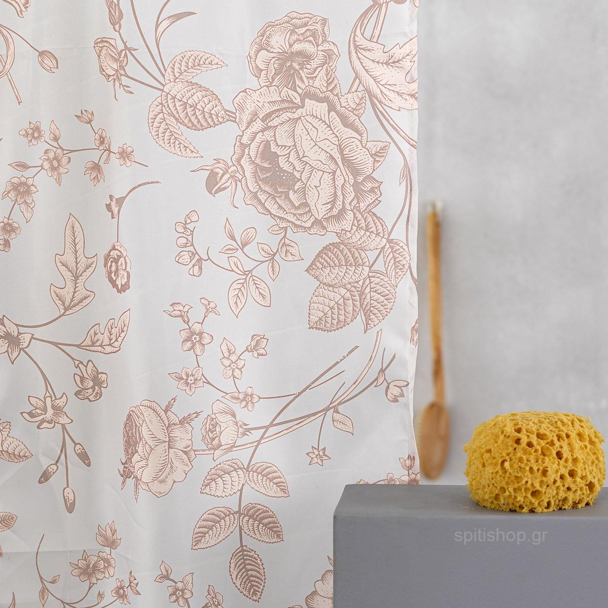 Κουρτίνα Μπάνιου (200×180) Palamaiki Flora