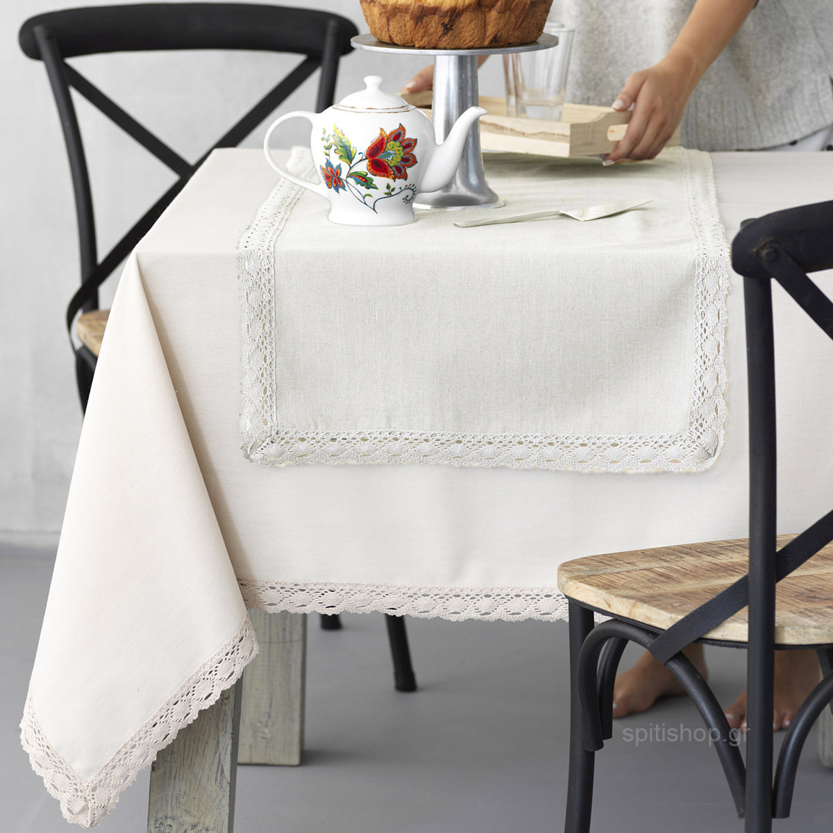 Τραπεζομάντηλο (140×220) Palamaiki Kitchen Lace Natural