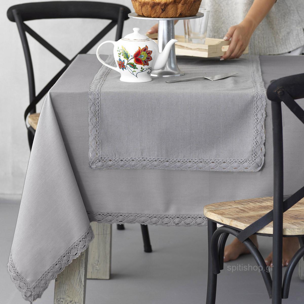 Τραπεζομάντηλο (140×140) Palamaiki Kitchen Lace Grey