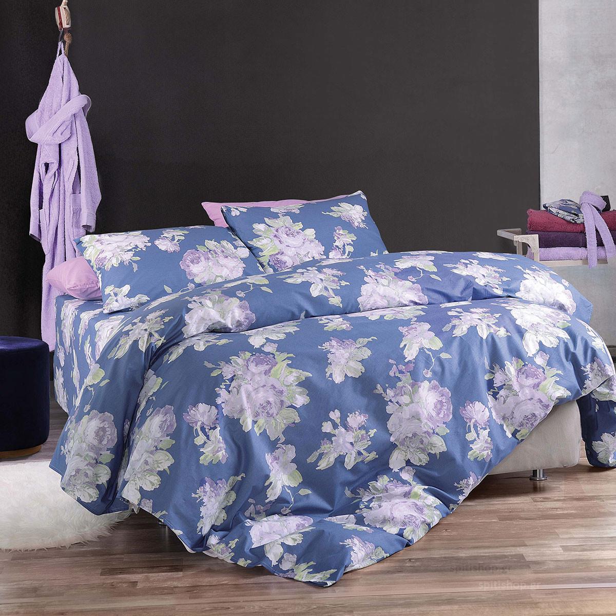 Σεντόνια Μονά (Σετ) Rythmos Diva Aeriella Blue ΧΩΡΙΣ ΛΑΣΤΙΧΟ 160×260 ΧΩΡΙΣ ΛΑΣΤΙΧΟ 160×260
