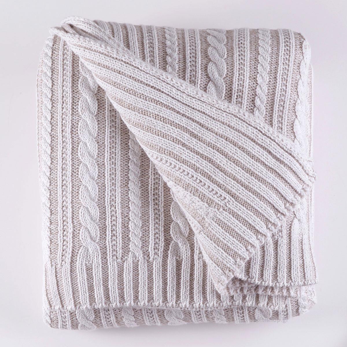 Κουβέρτα Πλεκτή Μονή Rythmos Henna home   κρεβατοκάμαρα   κουβέρτες   κουβέρτες πλεκτές