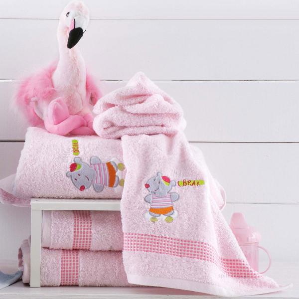 Βρεφικές Πετσέτες (Σετ 2τμχ) Rythmos Pondi Bear Pink