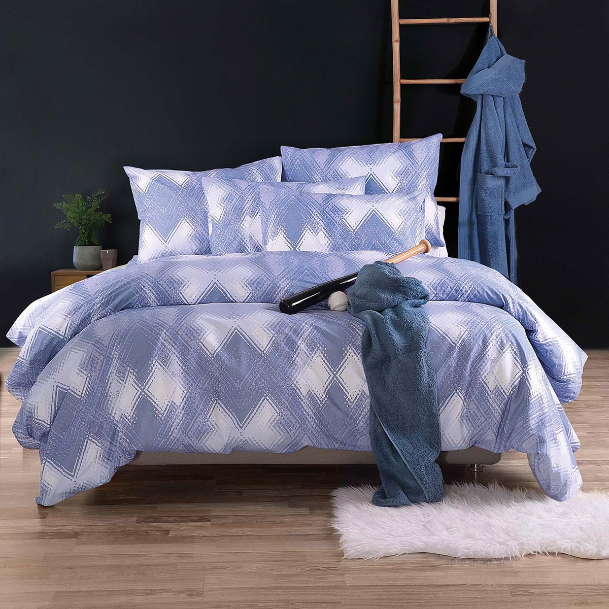 Κουβερλί Υπέρδιπλο (Σετ) Rythmos Nova Alden Blue