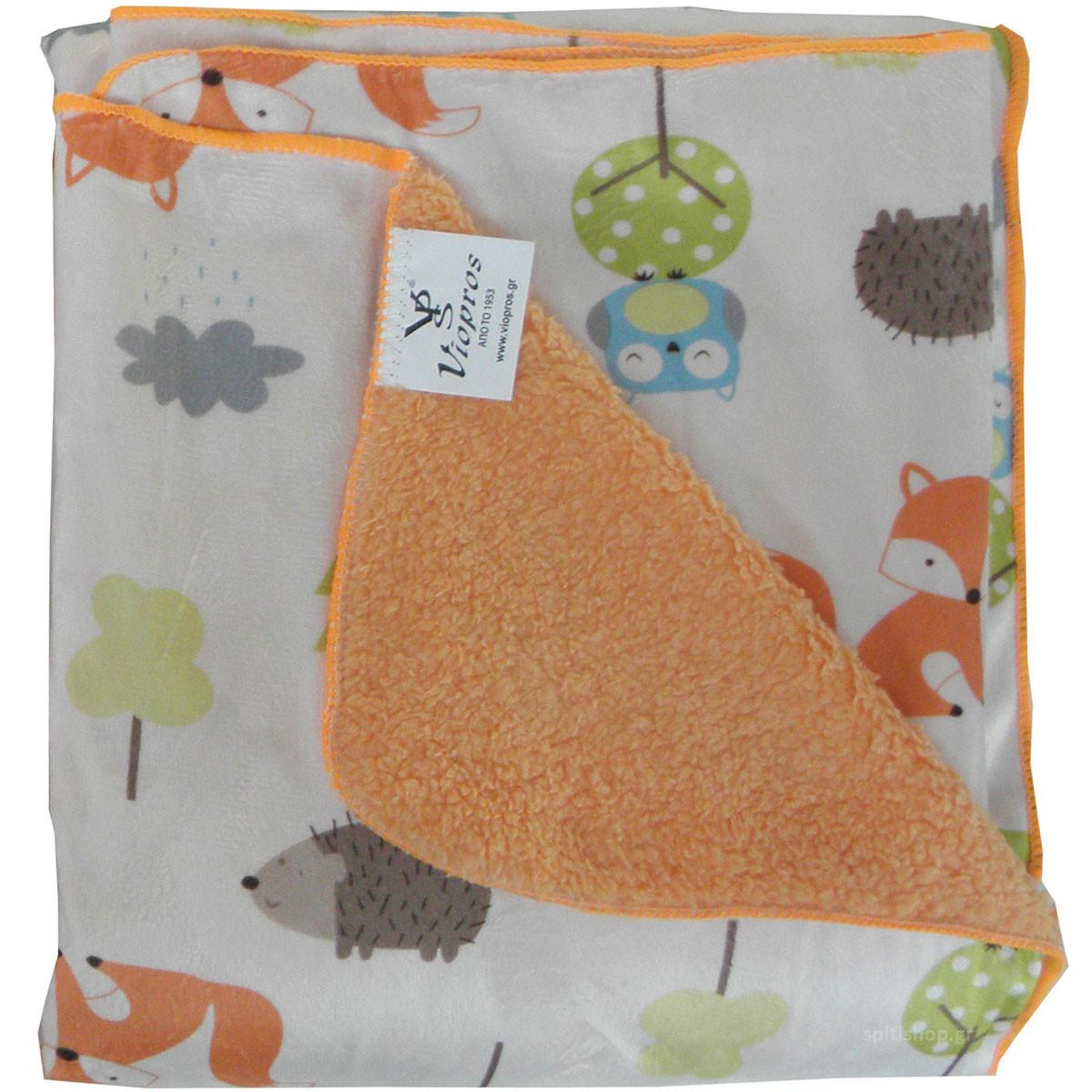 Κουβέρτα Fleece Κούνιας Με Γουνάκι Viopros Σχ 73