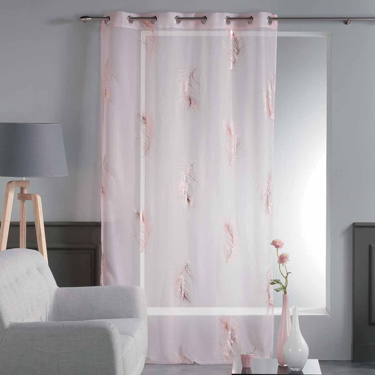 Κουρτίνα (140×280) Με Τρουκς Sensalia Voilage Rose 1625904