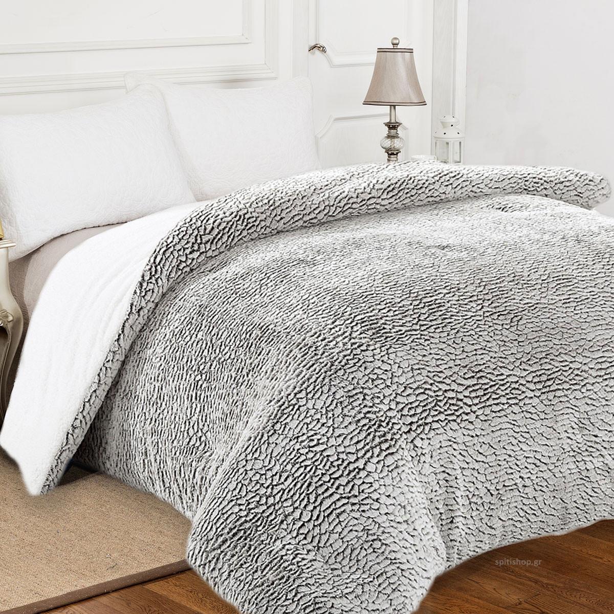 Κουβέρτα Fleece Υπέρδιπλη Με Γουνάκι Anna Riska 371 Grey