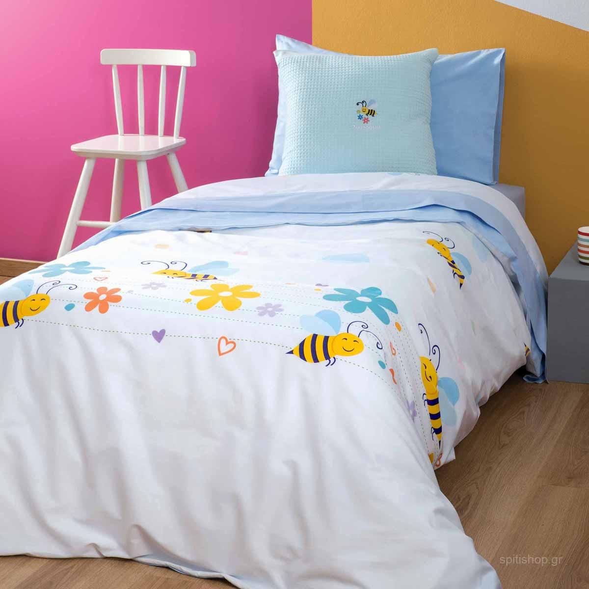 Παπλωματοθήκη Μονή (Σετ) Zouzounia Μέλισσα 031
