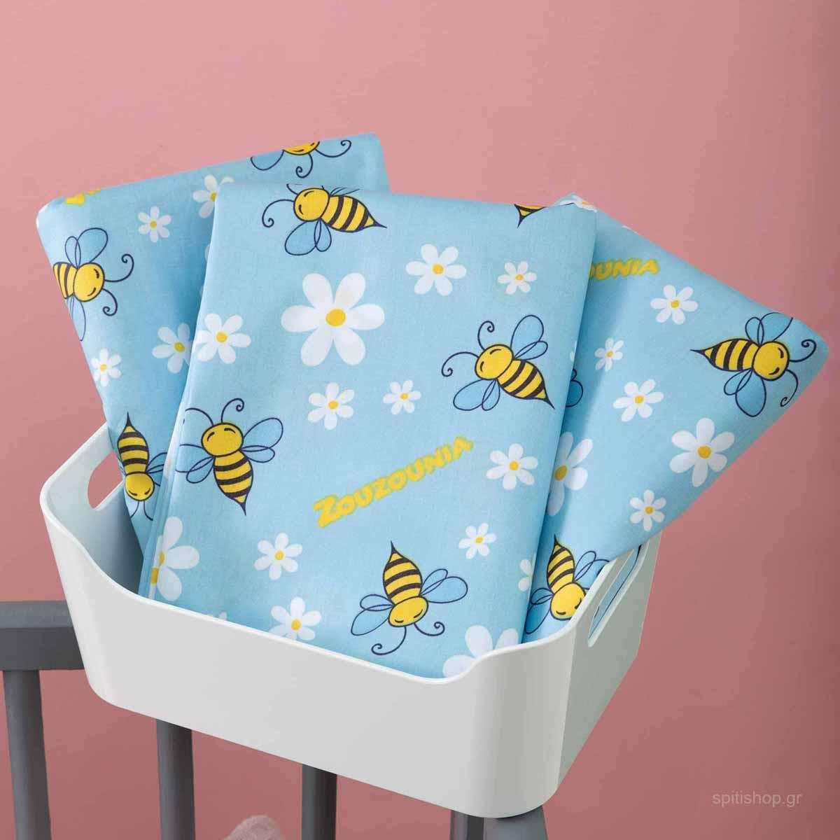Σεντόνια Κούνιας 3τμχ Zouzounia Μέλισσα 131