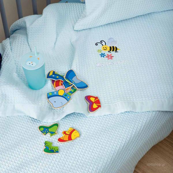 Κουβέρτα Πικέ Κούνιας Zouzounia Μέλισσα 256