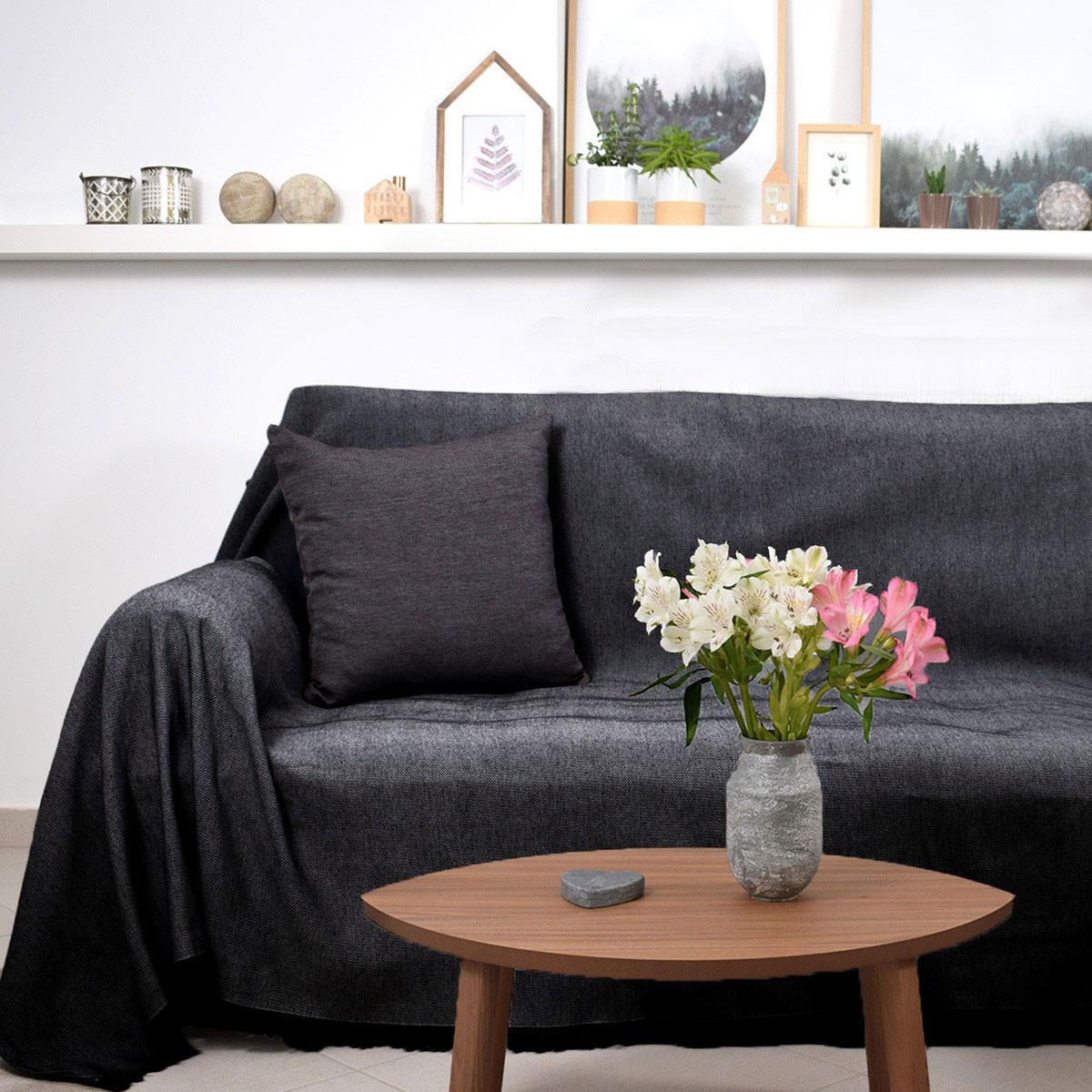 Ριχτάρι Πολυθρόνας (180×180) Ravelia Frugal Black/Grey