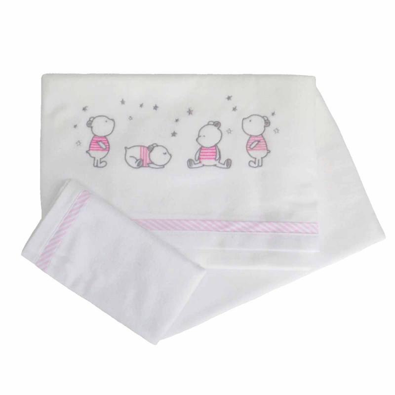 Φανελένια Σεντόνια Κούνιας (Σετ) Κόσμος Του Μωρού 0298 Bear Ροζ