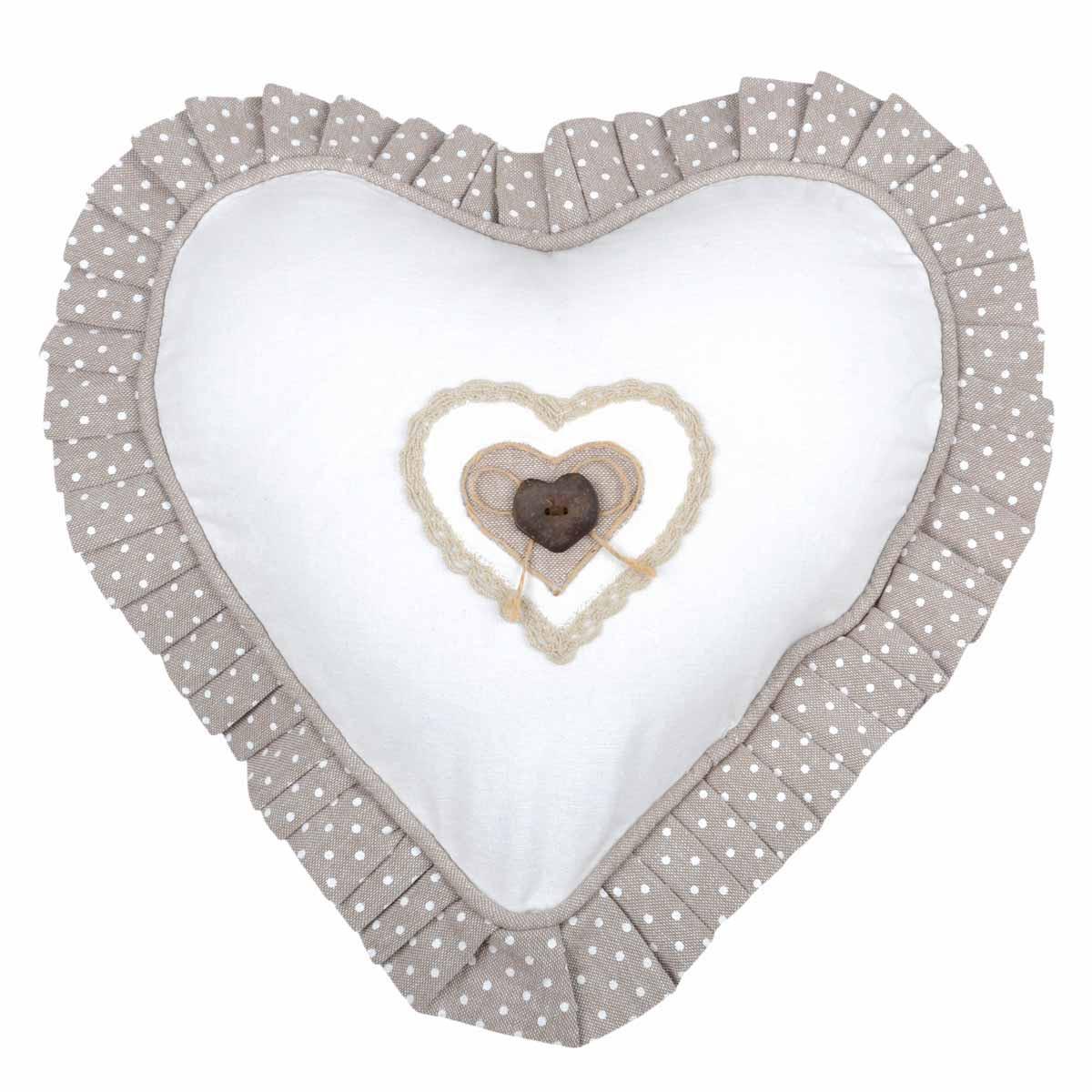 Διακοσμητικό Μαξιλάρι Καρδιά Lyna Ecru C23102002