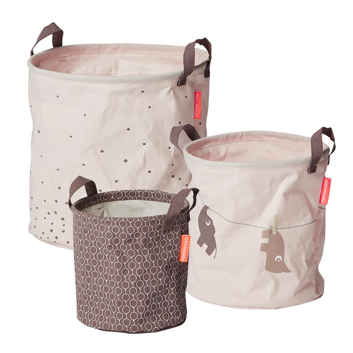 Καλάθια Αποθήκευσης (Σετ 3τμχ) Done By Deer Soft Storage Powder BR72019 home   παιδικά   παιδική διακόσμηση