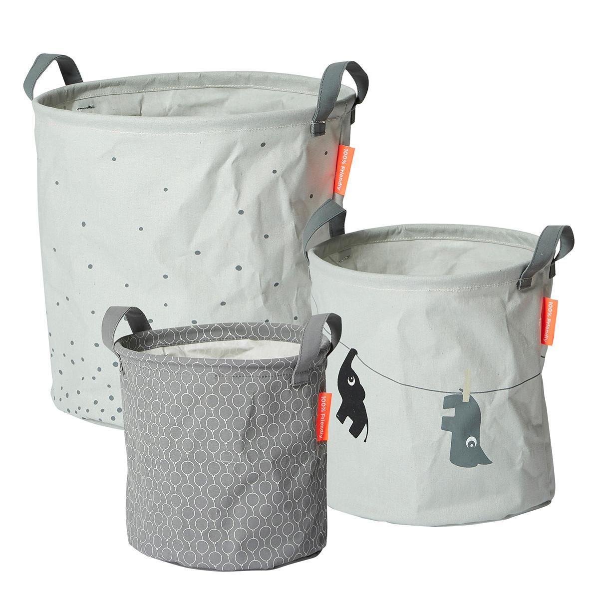 Καλάθια Αποθήκευσης (Σετ 3τμχ) Done By Deer Soft Storage Grey BR72021 home   παιδικά   παιδική διακόσμηση