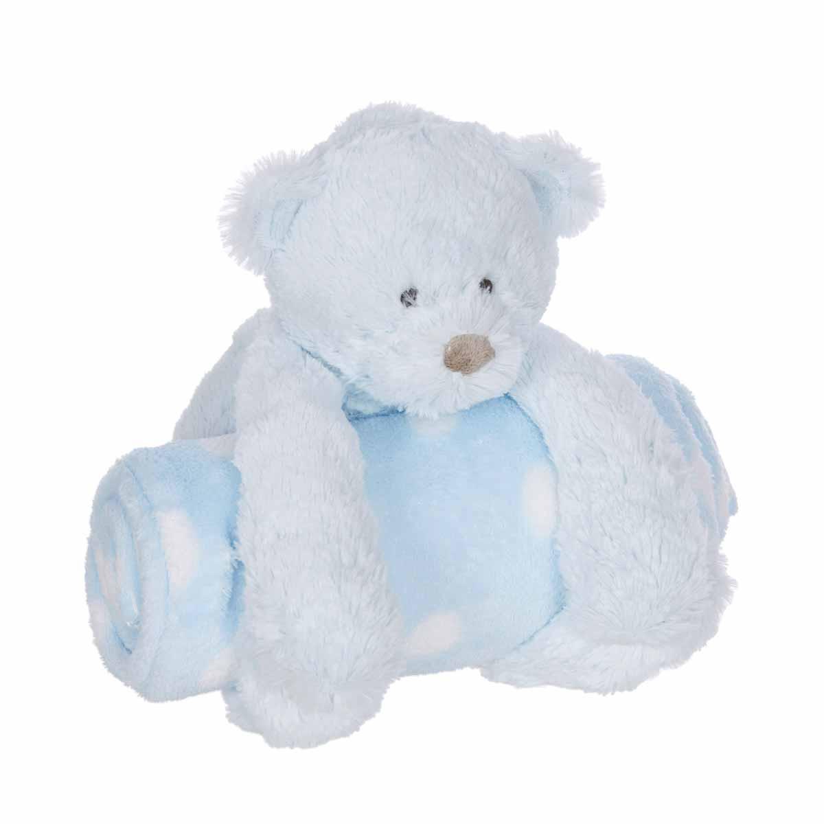 Κουβέρτα Fleece Αγκαλιάς Manon Des Pres Αρκουδάκι Σιέλ BR72949