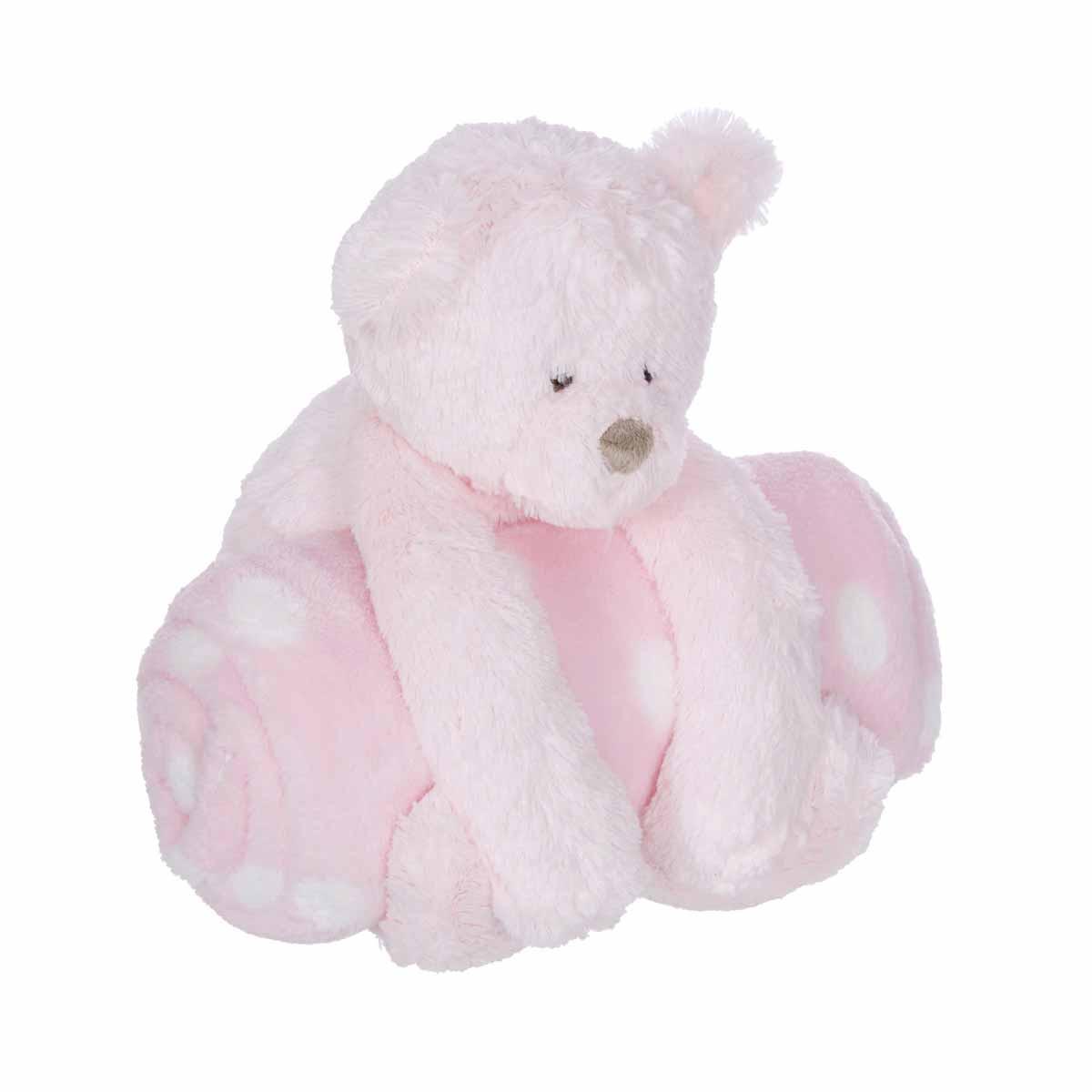 Κουβέρτα Fleece Αγκαλιάς Manon Des Pres Αρκουδάκι Ροζ BR72950