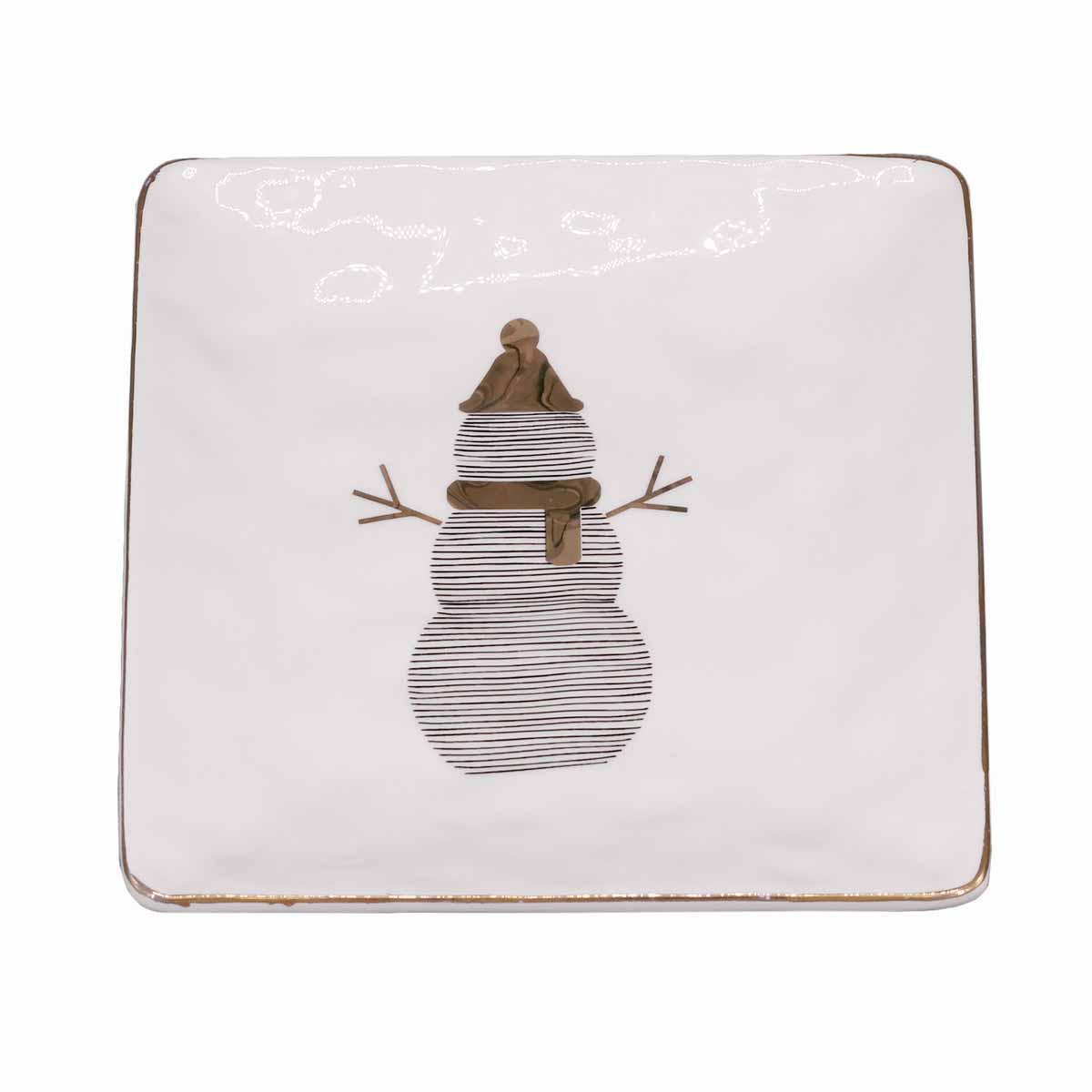 Χριστουγεννιάτικη Πιατέλα Marva Gold Snowman 808005
