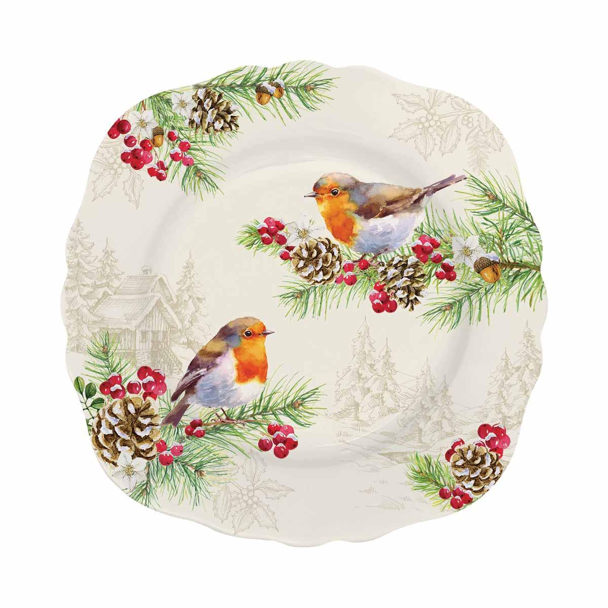 Χριστουγεννιάτικο Πιάτο Γλυκού Marva Winter Robins 1176WΙRΟ