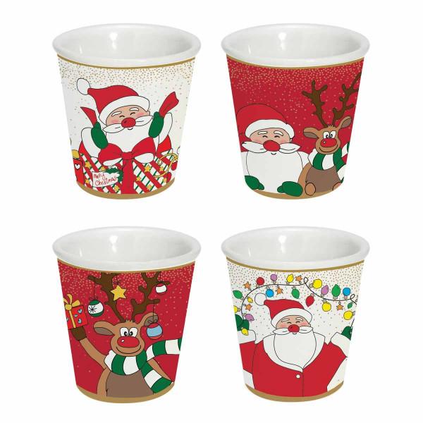 Χριστουγεννιάτικα Φλυτζάνια Καφέ (Σετ 4τμχ) Marva 1016CRFR