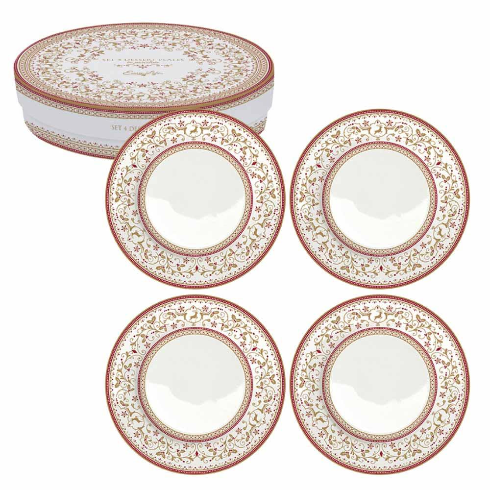 Χριστουγεννιάτικα Πιάτα Γλυκού (Σετ 4τμχ) Marva CRS 924WΙCΑ