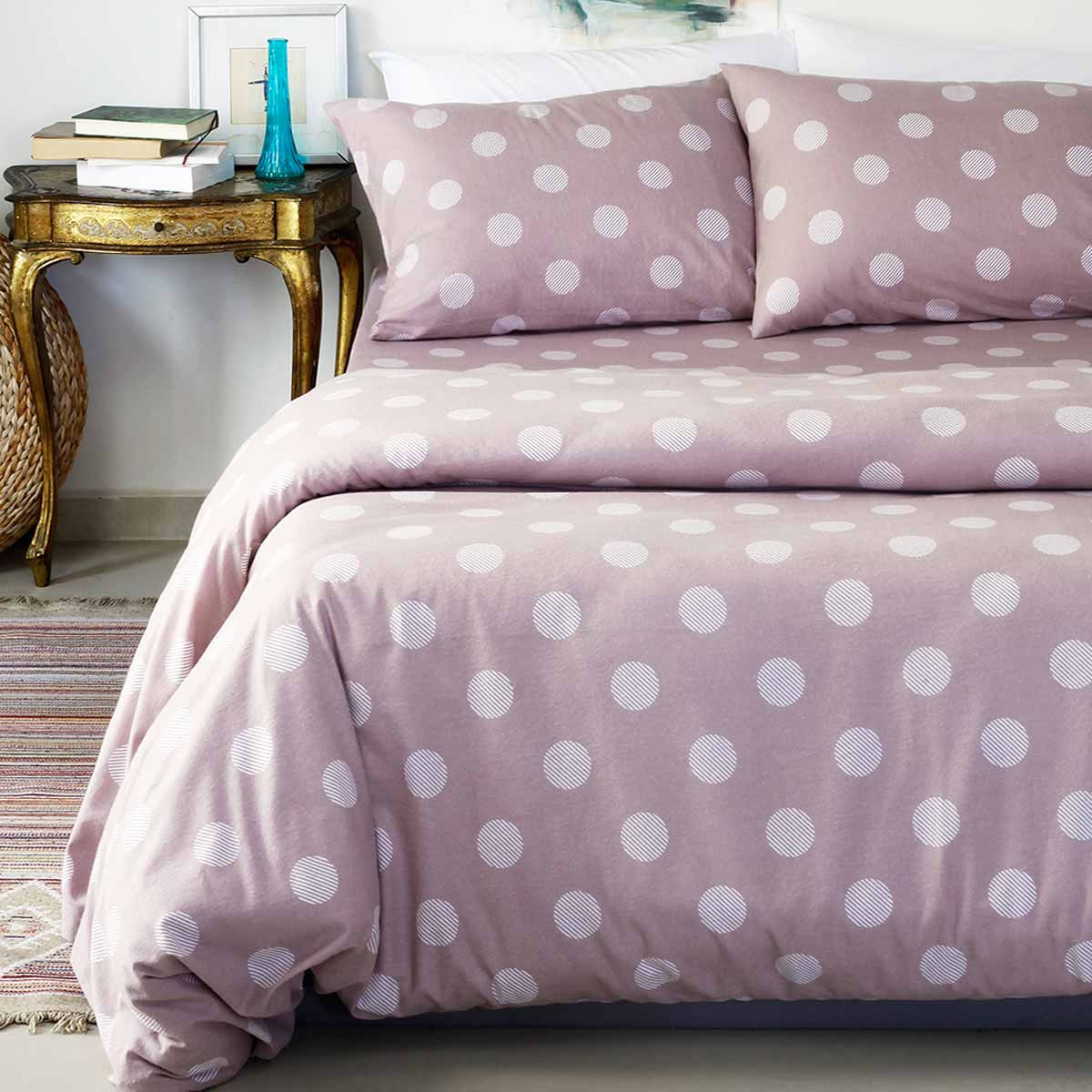 Φανελένια Σεντόνια Διπλά (Σετ) Melinen Poua Violet home   κρεβατοκάμαρα   σεντόνια   σεντόνια ημίδιπλα   διπλά
