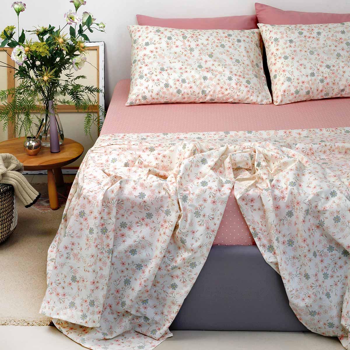 Σεντόνια Διπλά (Σετ) Melinen Ultra Daisy Rosette home   κρεβατοκάμαρα   σεντόνια   σεντόνια ημίδιπλα   διπλά