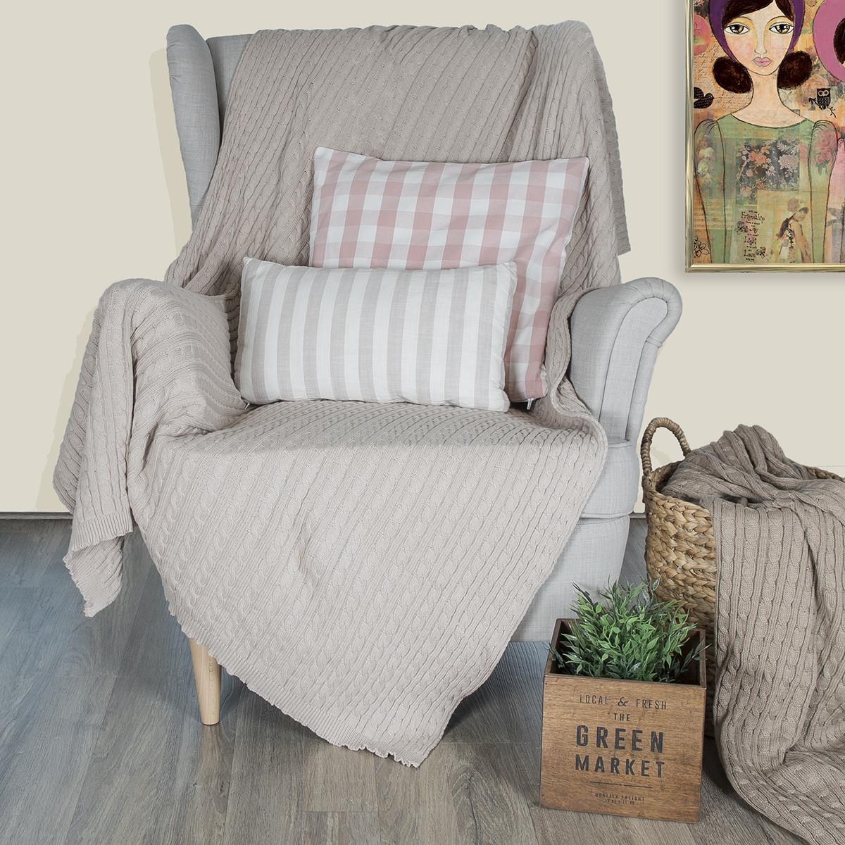Κουβέρτα Καναπέ Πλεκτή Loom To Room Varma Beige