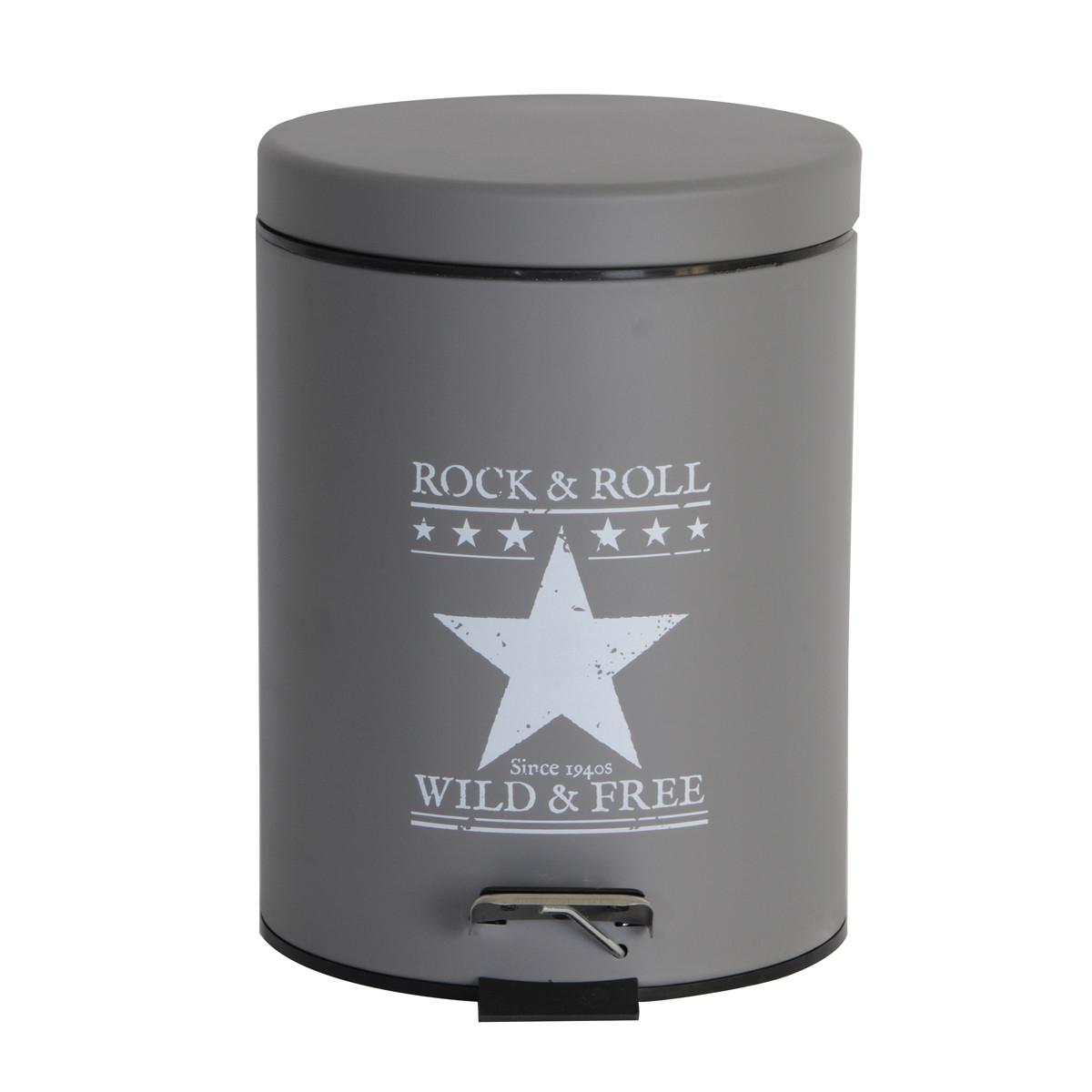 Κάδος Απορριμάτων (20x28) εstia 5Lit Rock & Roll Grey 02-3821 home   μπάνιο   κάδοι απορριμμάτων