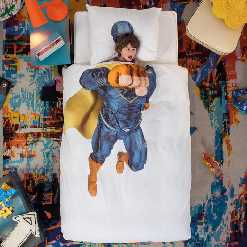 Παπλωματοθήκη Μονή (Σετ) Snurk Super Hero Blue
