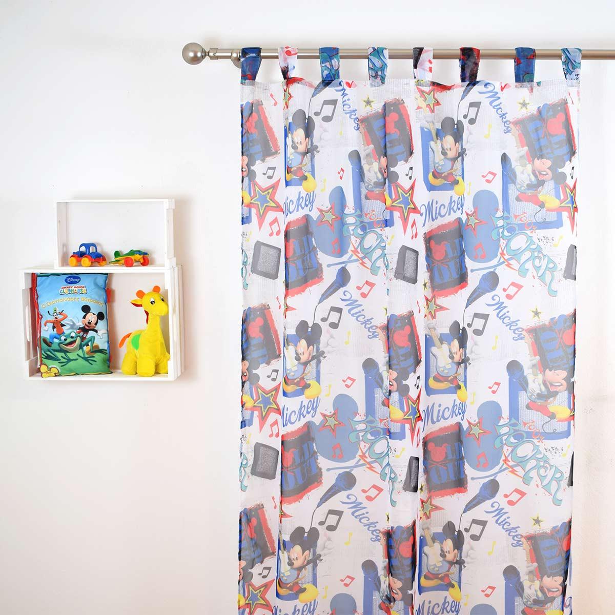 Παιδική Κουρτίνα (140×290) Με Θηλιές Disney ClubHouse CH012 White