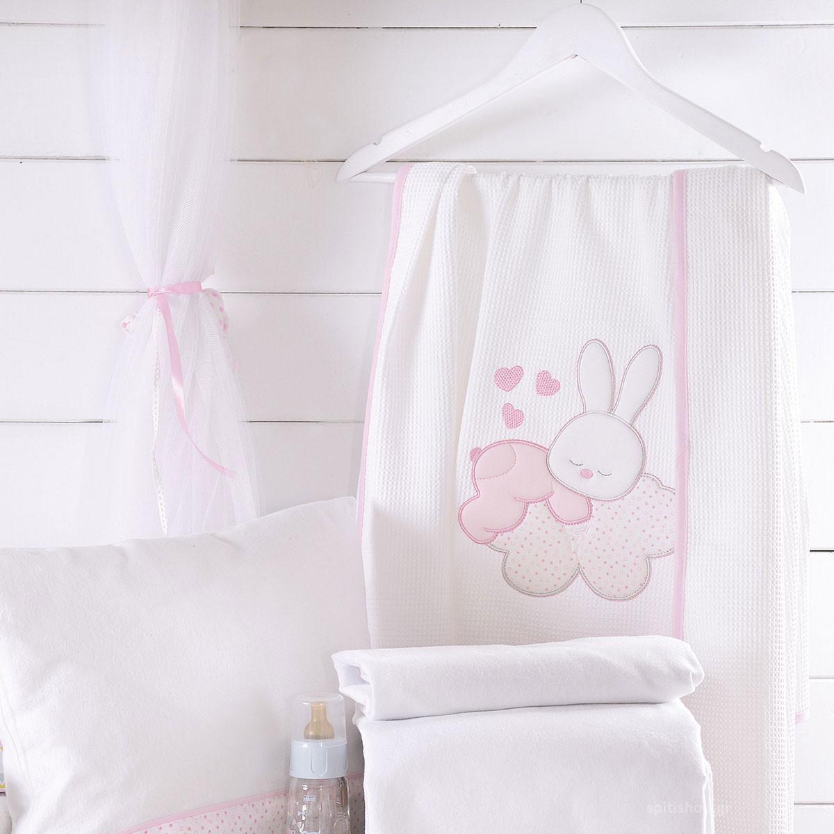 Κουβέρτα Πικέ Κούνιας Rythmos Cloud Pink home   βρεφικά   κουβέρτες βρεφικές   κουβέρτες καλοκαιρινές