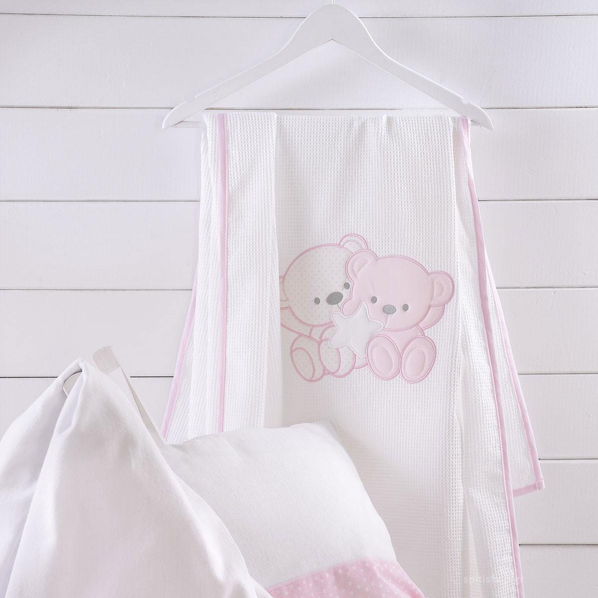 Κουβέρτα Πικέ Κούνιας Rythmos Together Pink home   βρεφικά   κουβέρτες βρεφικές   κουβέρτες καλοκαιρινές