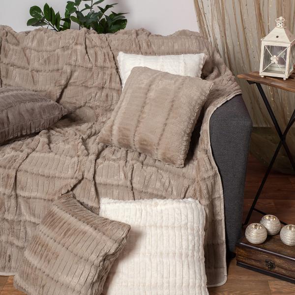 Γούνινο Ριχτάρι Πολυθρόνας (180x180) Silk Fashion Stripe Beige