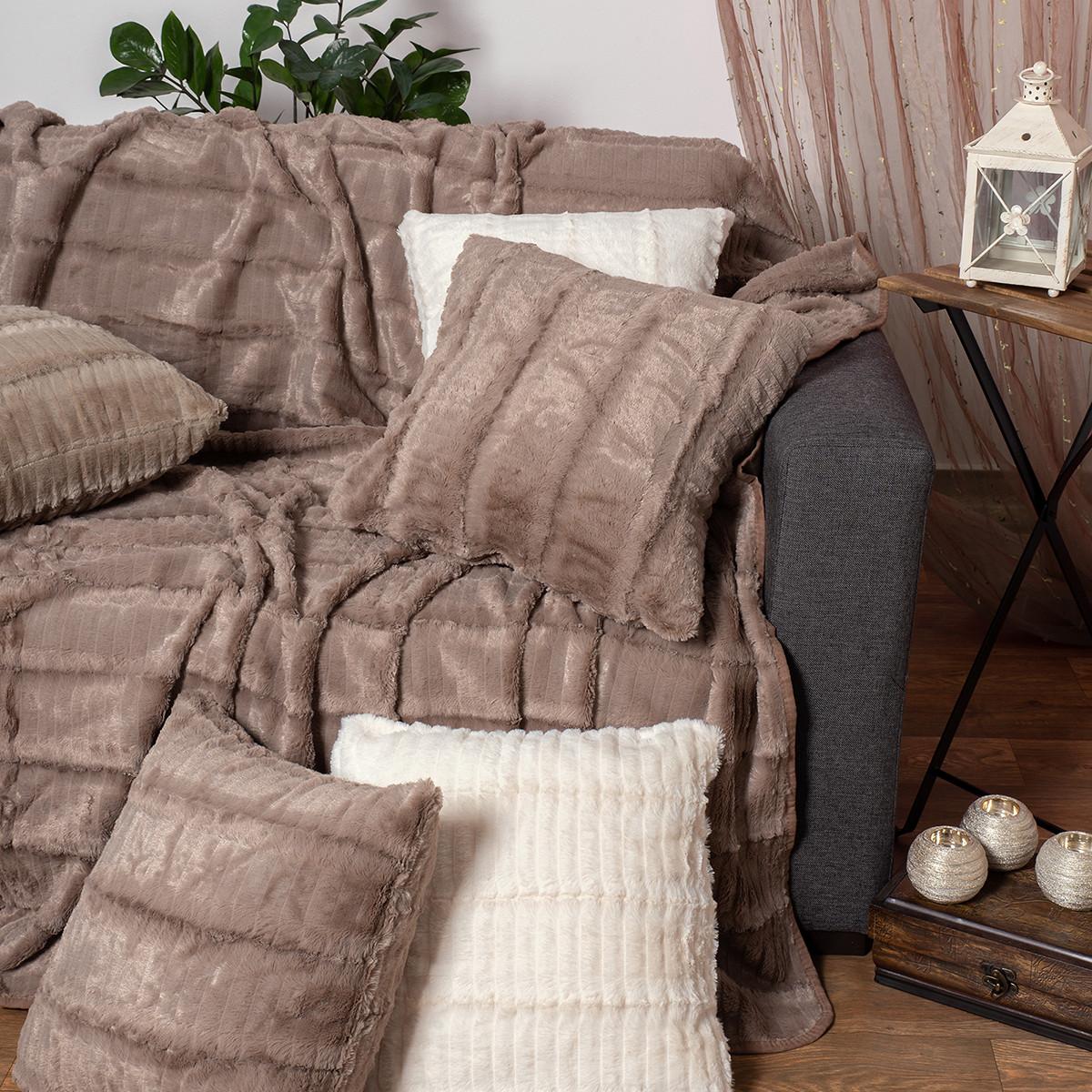 Γούνινο Ριχτάρι Τριθέσιου (180×320) Silk Fashion Stripe Coffee