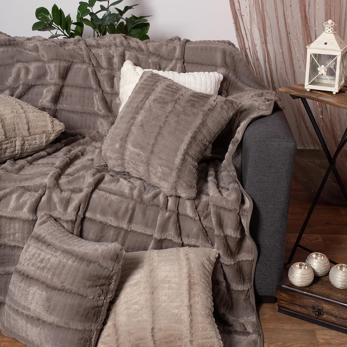 Γούνινο Ριχτάρι Τριθέσιου (180×320) Silk Fashion Stripe Grey