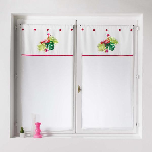 Σετ Κουρτίνες Παραθύρου (60x90) L-C Flamingo Rosa 1626085