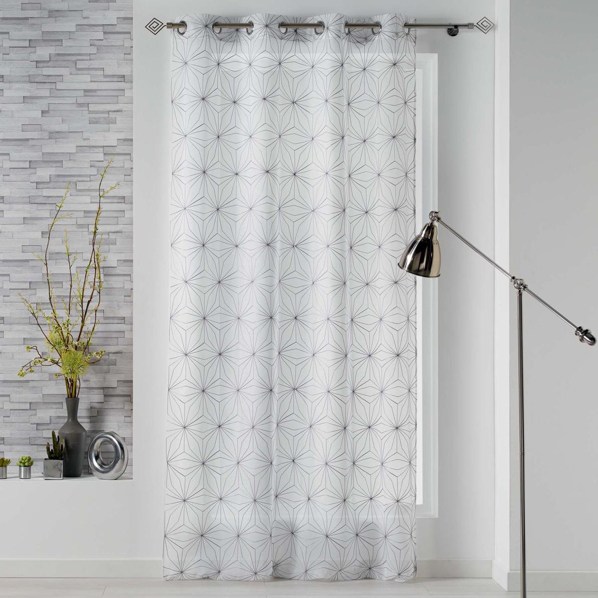 Κουρτίνα (140×240) Με Τρουκς Thales Blanc/Gris 1626115