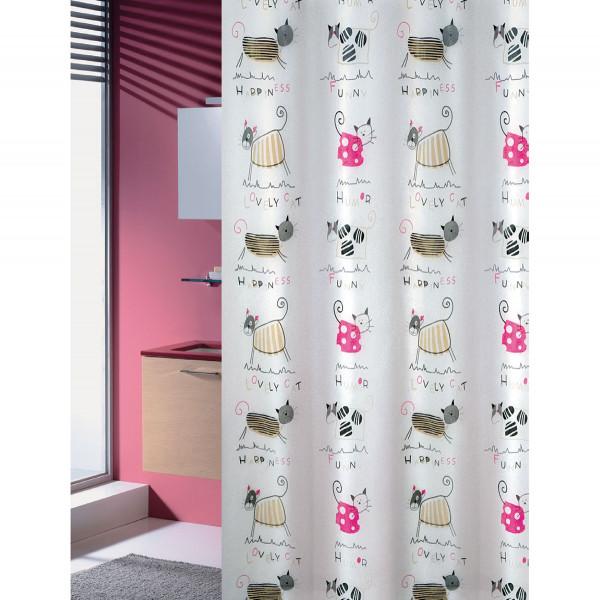 Κουρτίνα Μπάνιου Πλαστική (180x200) Joy Bath Cats