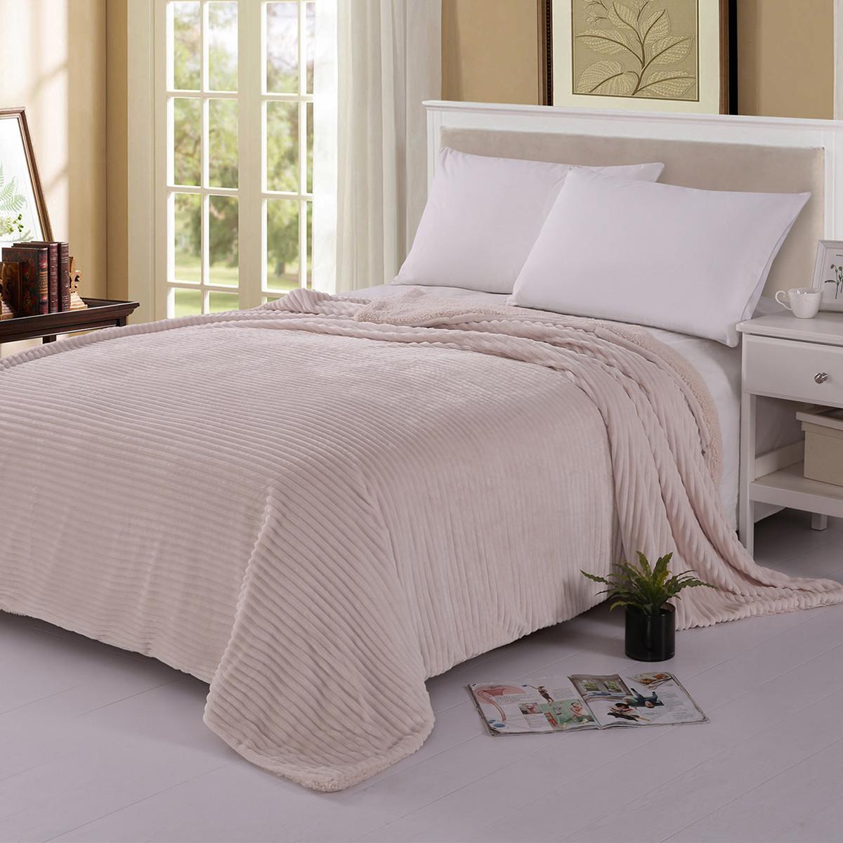 Κουβέρτα Fleece Υπέρδιπλη Με Γουνάκι Silk Fashion Kotle Cream
