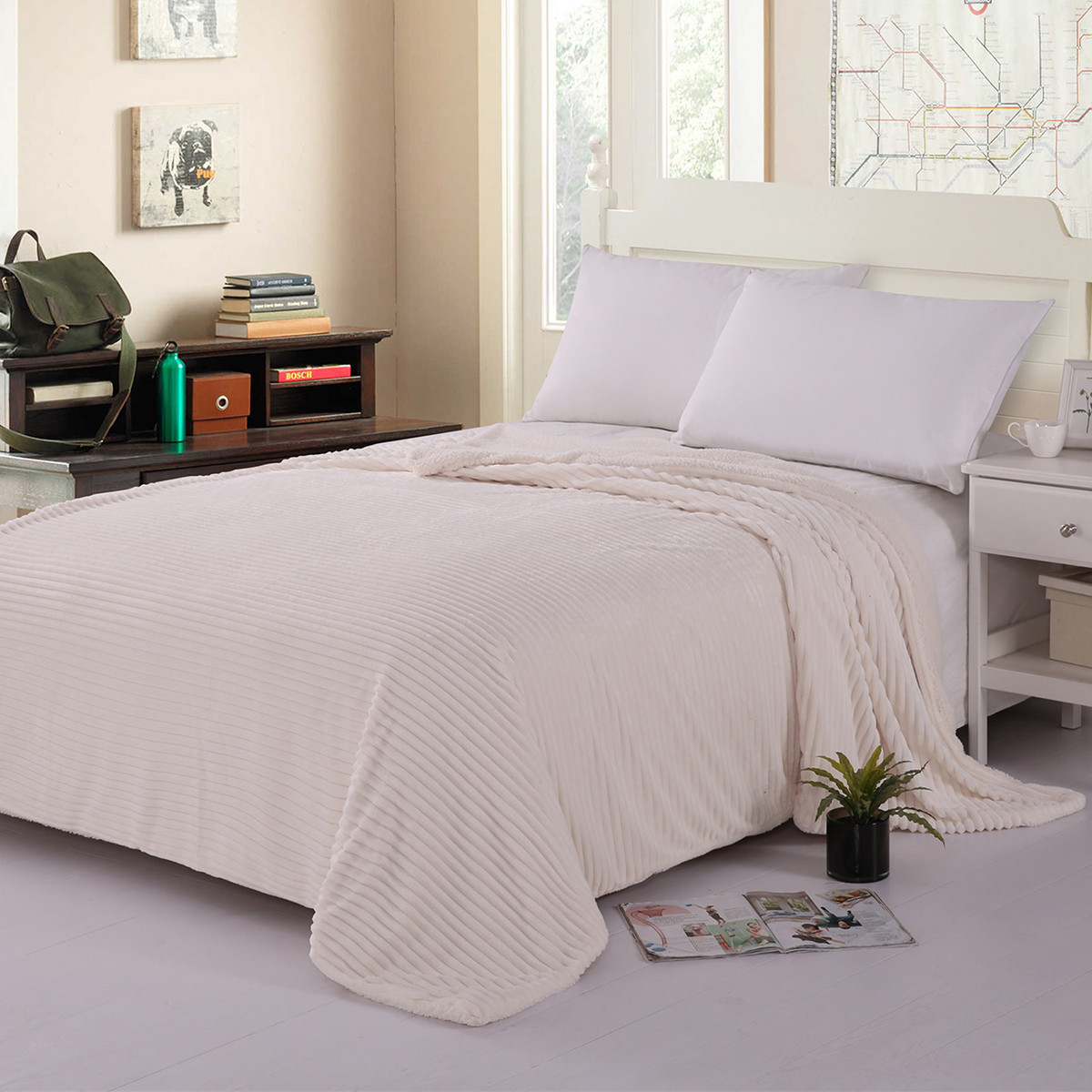 Κουβέρτα Fleece Υπέρδιπλη Με Γουνάκι Silk Fashion Kotle Ivory