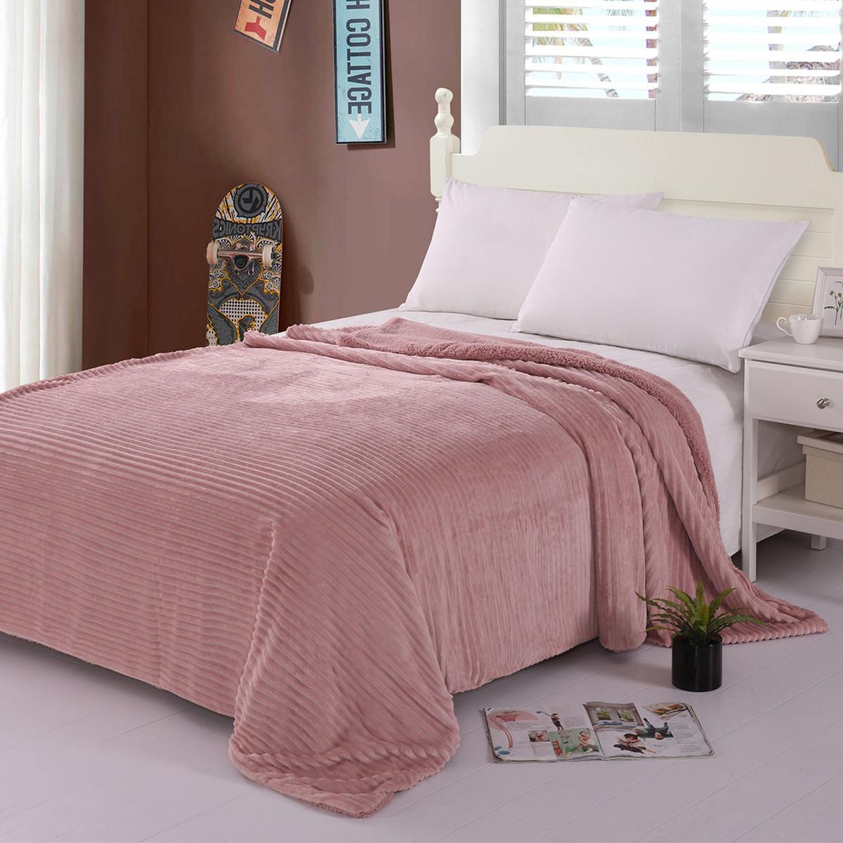 Κουβέρτα Fleece Μονή Με Γουνάκι Silk Fashion Kotle Pink