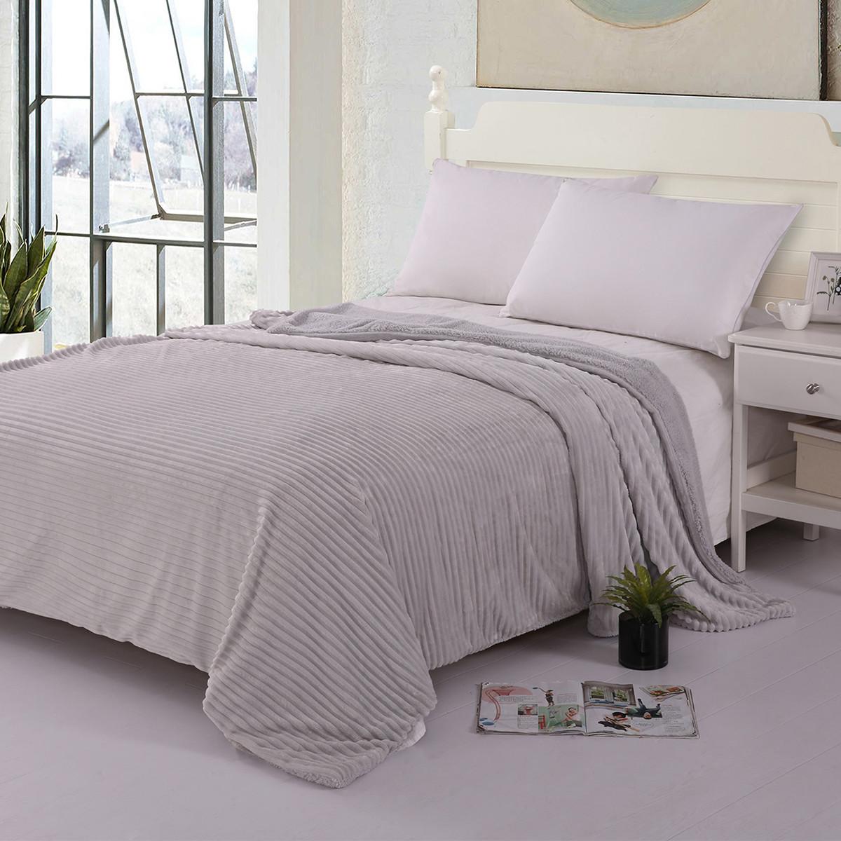 Κουβέρτα Fleece Υπέρδιπλη Με Γουνάκι Silk Fashion Kotle Grey